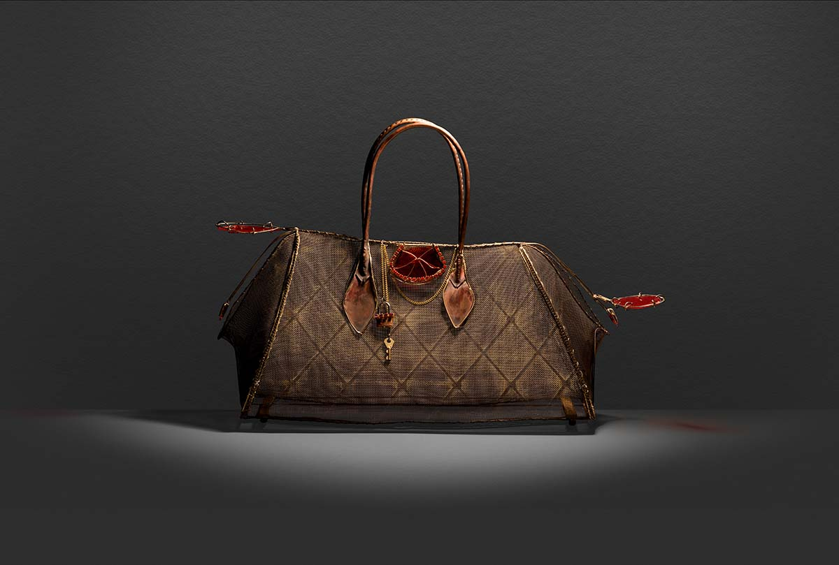 Life size wire and glass replica of the Crocodile and canvas finish of The Bombay an iconic Hermès handbag.