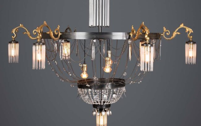 Ambrosia large round chandelier. Custom made from Recycled materials and vintage cutlery.