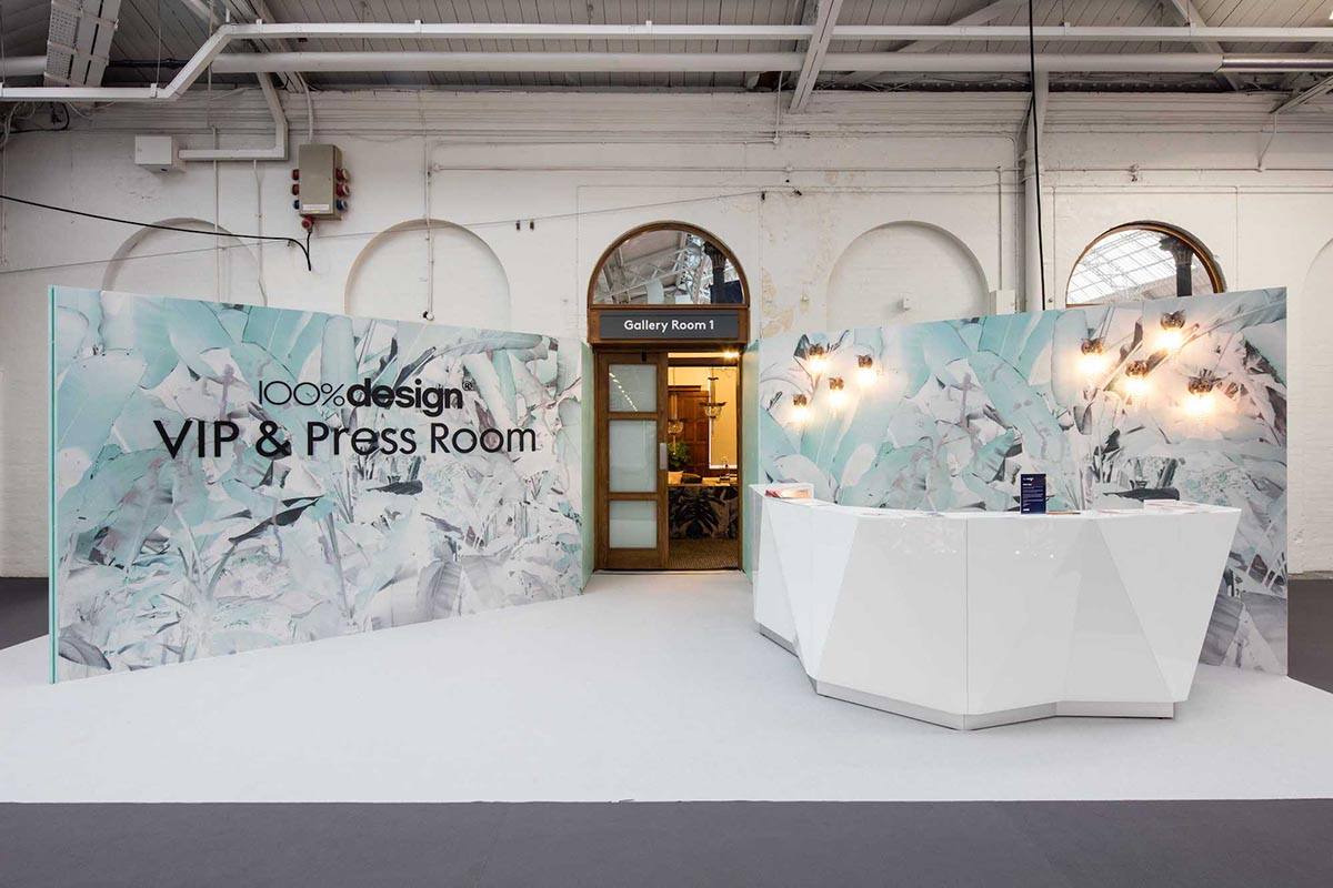 Entrance to the VIP & Press room at the 100% Design interiors show. Featuring Emerald Faerie lighting and Elli Popp wallpaper