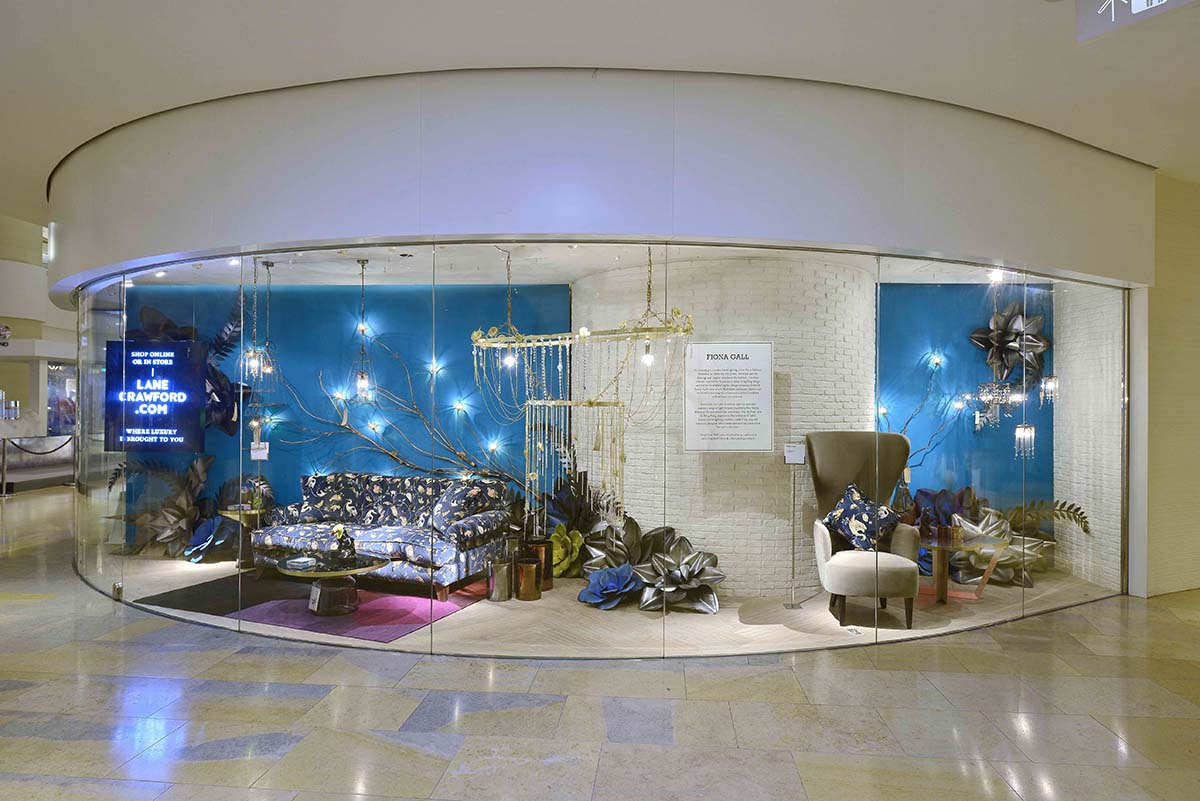 window display of Emerald Faerie's lighting at Lane Crawford luxury store in Hong Kong.